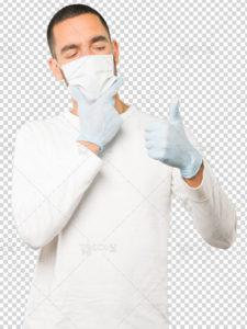 عکس مرد با ماسک PSD لایه باز دوربری شده با کیفیت بسیار بالا