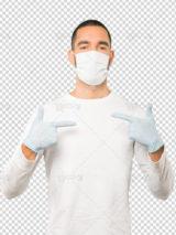 عکس مرد با ماسک روی دهان و دستکش PSD لایه باز دوربری شده با کیفیت