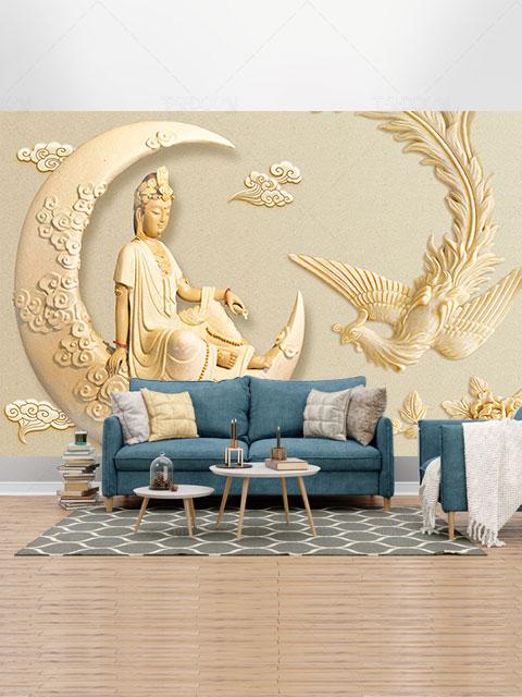 طرح کاغذ دیواری سه بعدی الهه هندو و ققنوس