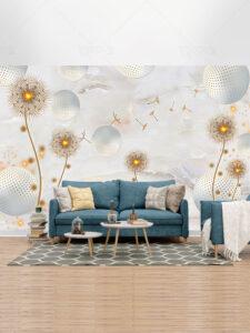 طرح کاغذ دیواری سه بعدی قاصدک های طلایی PSD لایه باز