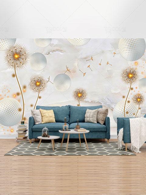طرح کاغذ دیواری سه بعدی قاصدک های طلایی