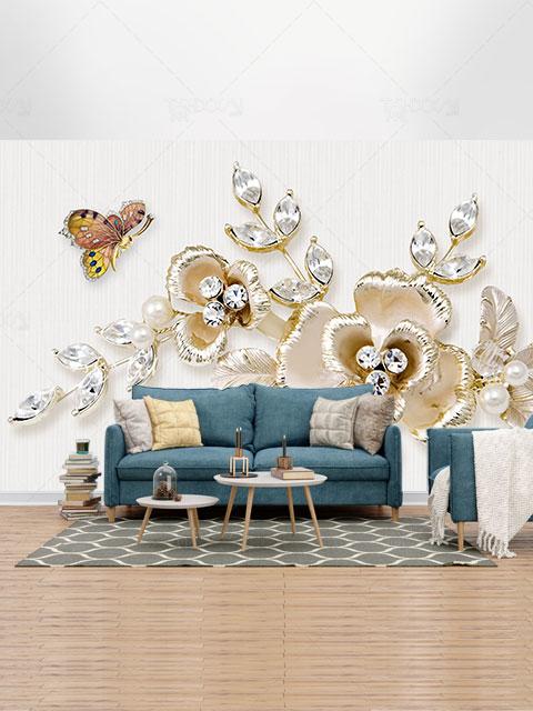 طرح کاغذ دیواری سه بعدی پروانه و جواهر نقره ای