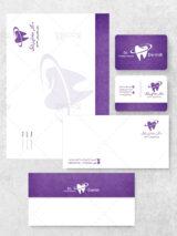 ست اداری دندانپزشکی لایه باز شامل سر نسخه کارت ویزیت و پاکت PSD