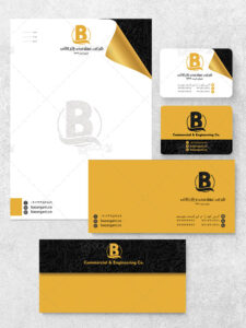 نمونه طرح ست اداری لایه باز شامل پاکت سربرگ کارت ویزیت دورو