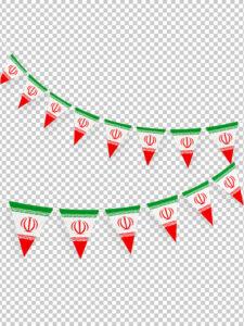 عکس ریسه پرچم ایران یا پرچم آویز PNG بدون بک گراند با کیفیت بالا