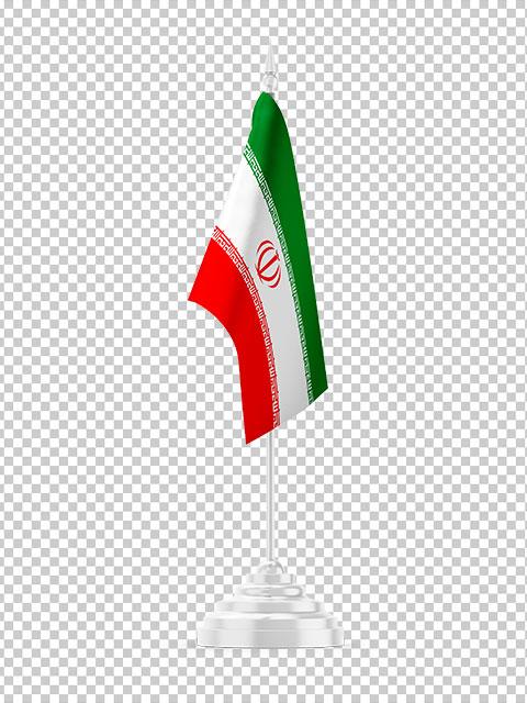 عکس پرچم تشریفاتی ایران ایستاده PNG