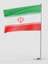 پرچم ایران با میله ایستاده PNG بدون پس زمینه با کیفیت بالا