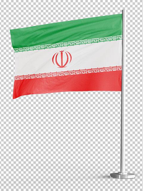 پرچم ایران با میله ایستاده PNG
