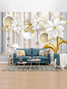 کاغذ دیواری فانتزی طرح گل و قوهای زیبا طرح PSD لایه باز رایگان