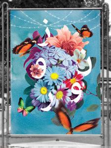 طرح لایه باز بنر عید نوروز و تبریک سال نو با تصاویر گل های زیبا