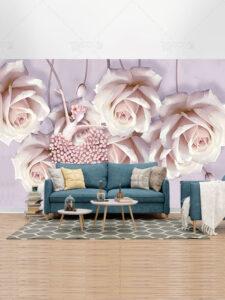 طرح لایه باز کاغذ دیواری گل های رز صورتی و زن بالرین با کیفیت بالا