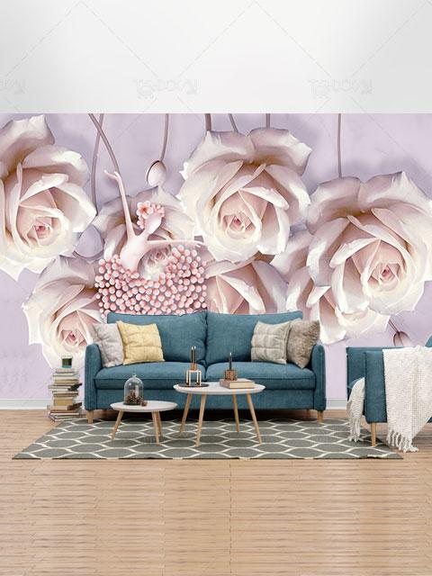 طرح لایه باز کاغذ دیواری گل های رز