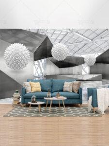 طرح کاغذ دیواری 3 بعدی انتزاعی PSD لایه باز معماری مدرن و توپ های سفید