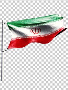 عکس پرچم ایران در باد PNG دور بری با کیفیت بسیار بالا