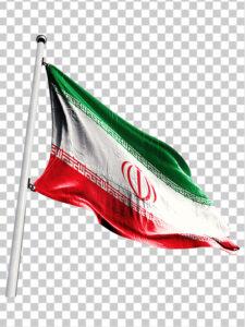 پرچم ایران در باد PNG دور بری شده عکس واقع گرایانه با کیفیت بالا