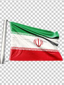 تصویر پرچم ایران بر روی میله PNG دور بری با کیفیت بسیار بالا