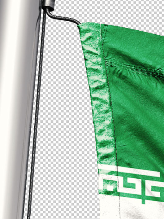 تصویر پرچم ایران بر روی میله PNG